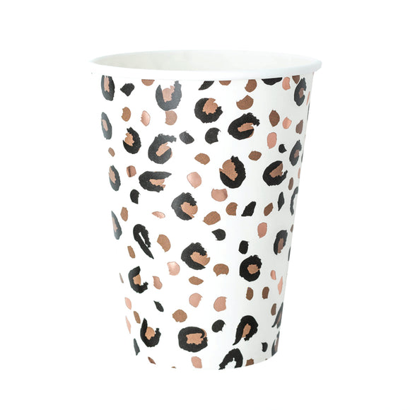 Leopard Print Paper Large Cups (350ml)