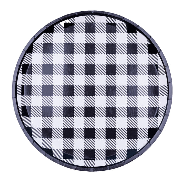 Black & White Gingham Dinner Plates