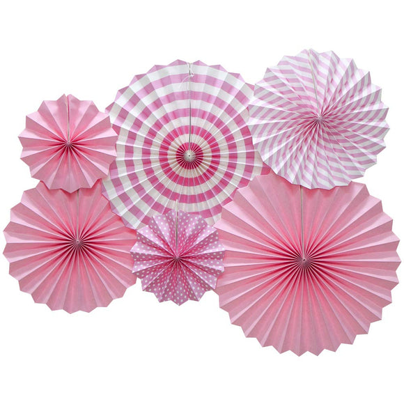 Light Pink Fan Decorations (6pcs) - Must Love Party