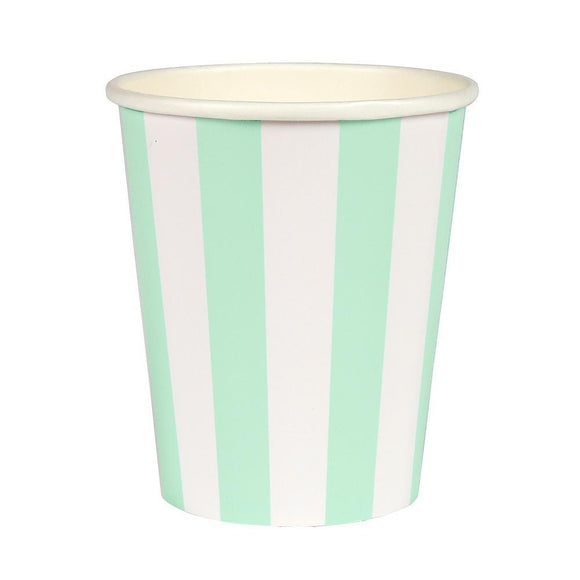 Mint Striped Paper Cups (12} - Must Love Party
