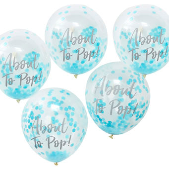 Confetti Balloons - About To Pop Blue (5 pack) - Must Love Party