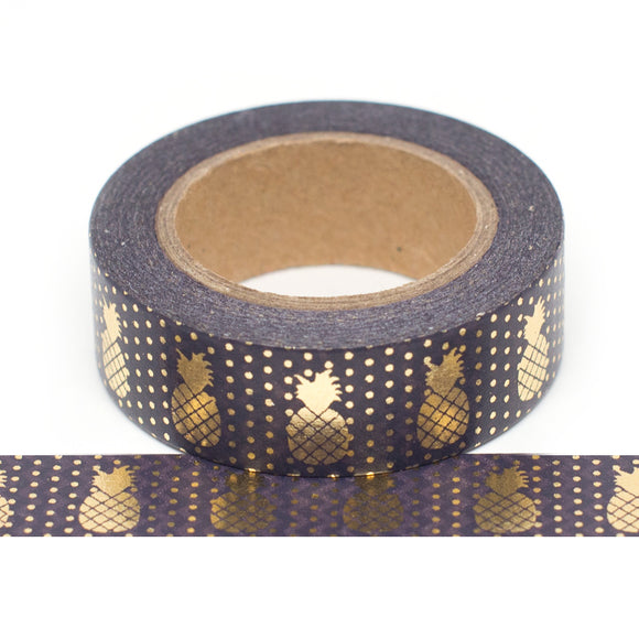 Washi Tape - Black with Gold Pineapples - Must Love Party