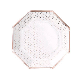 Spotty Rose Gold Paper Plates - Must Love Party