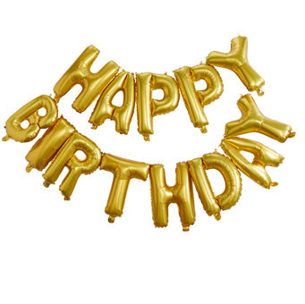 Gold Happy Birthday Balloon Bunting - Must Love Party