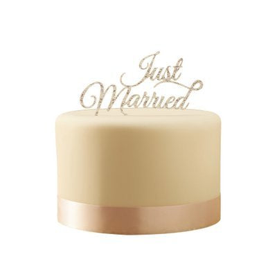 Pastel Perfection - Just Married - Silver Cake Topper - Must Love Party