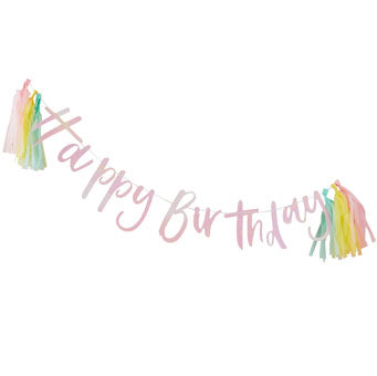 Happy Birthday Bunting With Pastel Tassels - Must Love Party