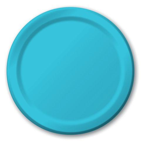 Small Plain Bermuda Blue Plates - Must Love Party