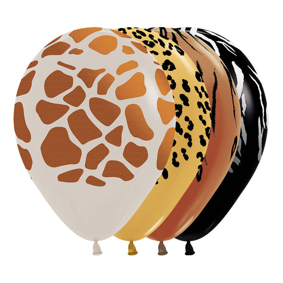 Metallic & Fashion Solid Animal Print Balloons (4)