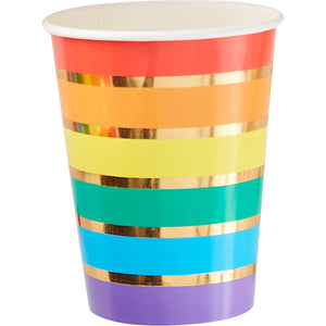Rainbow & Gold Foiled Party Paper Cups - Must Love Party