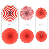 Red Fan Decorations (6pcs) - Must Love Party