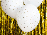 All over Gold Star on white and Clear Latex Balloons