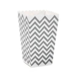 Mini Metallic Silver Chevron Popcorn Boxes - Must Love Party
