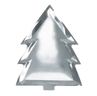 Silver Foiled Christmas Tree Plates - Must Love Party