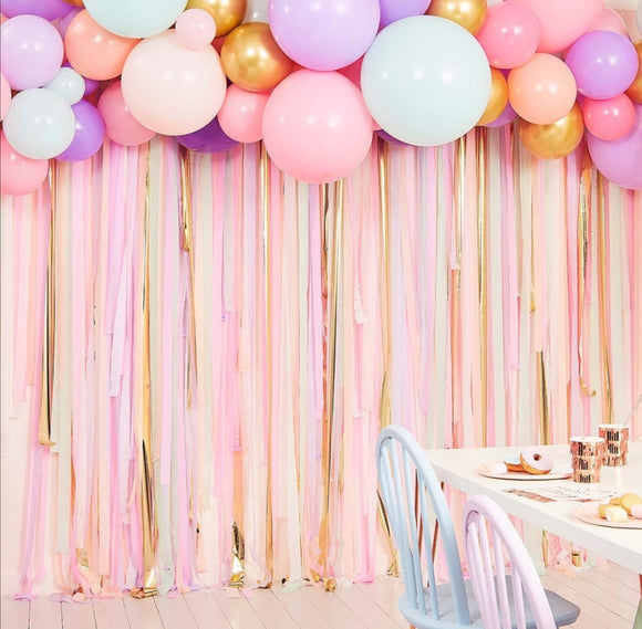 DIY Backdrop - Balloons (75 assorted) and Streamers (Total 300m)