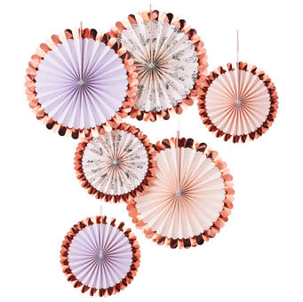 Rose Gold & Floral Paper Fan Decorations - Must Love Party