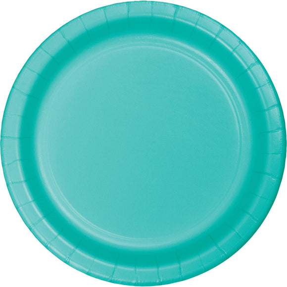 Plain Teal Lagoon Paper Plates - Must Love Party