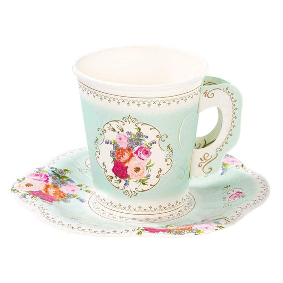 Truly Scrumptious Paper Cup & Saucer Set (12)