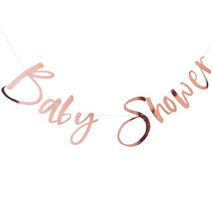 Rose Gold Baby Shower Bunting - Must Love Party
