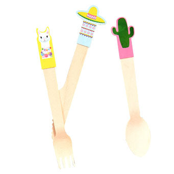 Mexican / llama Wooden Cutlery - Must Love Party