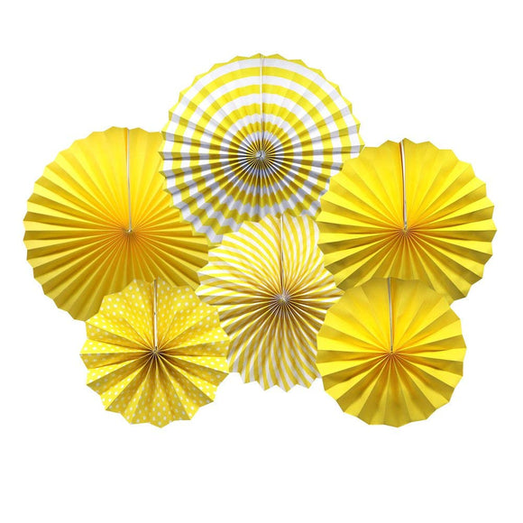 Yellow Fan Decorations (6pcs)