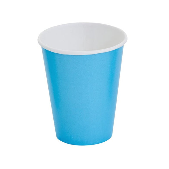 Plain Bermuda Blue Paper Cups (8) - Must Love Party