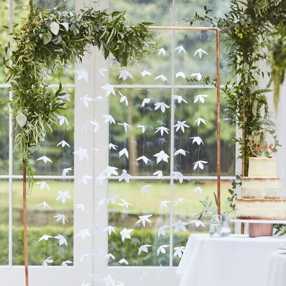White Origami Floral Backdrop - Must Love Party