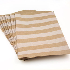 Kraft Paper Bags - White Stripes - Must Love Party
