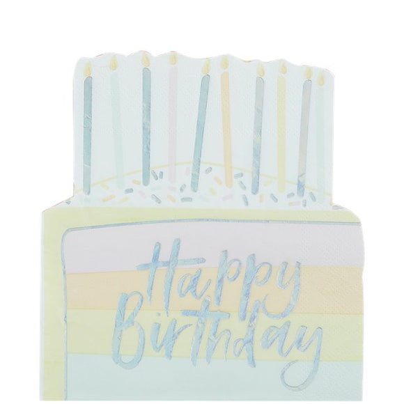 Pastel Iridescent Happy Birthday Cake Shape Napkins