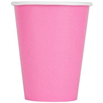 Plain Candy Pink Paper Cups (8) - Must Love Party