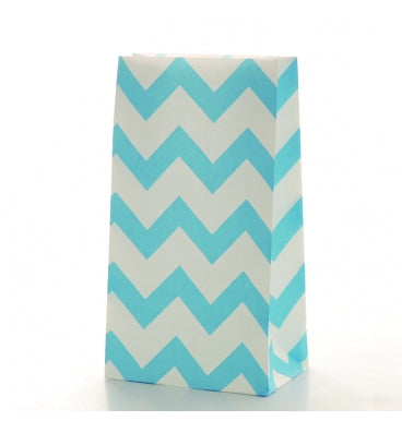 Light Blue Chevron Treat Bags - Must Love Party