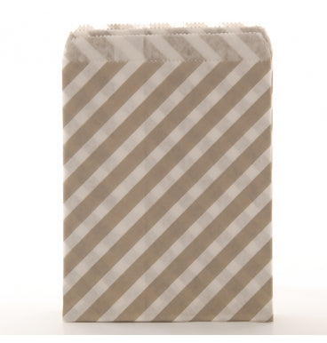 Grey Diagonal Stripe Candy Bags - Must Love Party