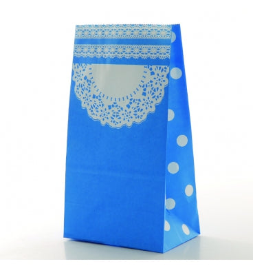 Blue Doilie Pattern Treat Bags - Must Love Party