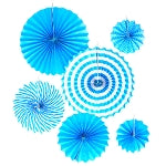 Blue Fan Decorations (6pcs) - Must Love Party