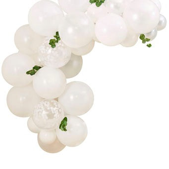 Mini White Balloon Arch With Foiliage - Must Love Party