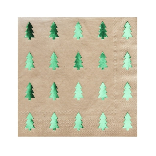 Green foiled Christmas Tree Paper Napkins
