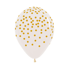 All over Printed Golden Confetti on Crystal Clear Balloons - Must Love Party