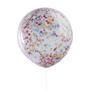 Giant Multi-Colour Confetti Filled Clear Party Balloons (3 Pack) - Must Love Party
