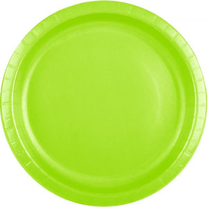 Plain Lime Green Paper Plates - Must Love Party