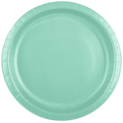 Small Plain Fresh Mint Paper Plates - Must Love Party