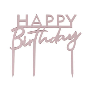 Pink Acrylic Happy Birthday Cake Topper - Must Love Party