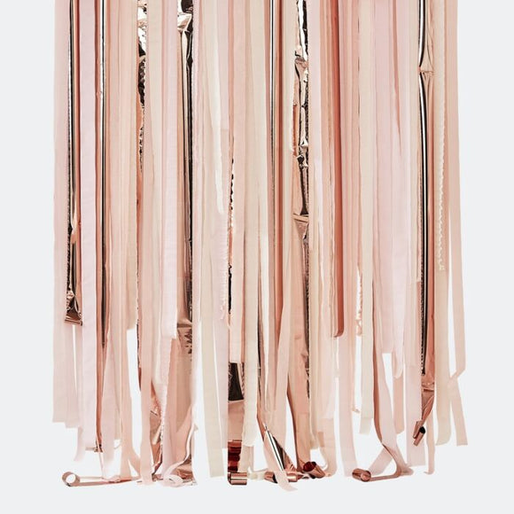 Pink & Rose Gold Streamer Backdrop - Must Love Party
