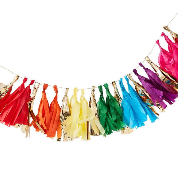 Gold and Rainbow Tassel Garland - Must Love Party