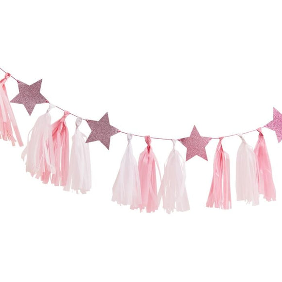 Pink Tassel Garland with Glitter Stars - Must Love Party