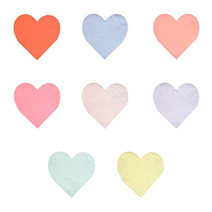 Small Pastel Palette Heart Napkins - Must Love Party