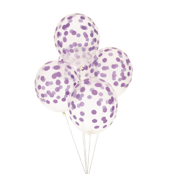 Purple Confetti Balloons (10) - Must Love Party