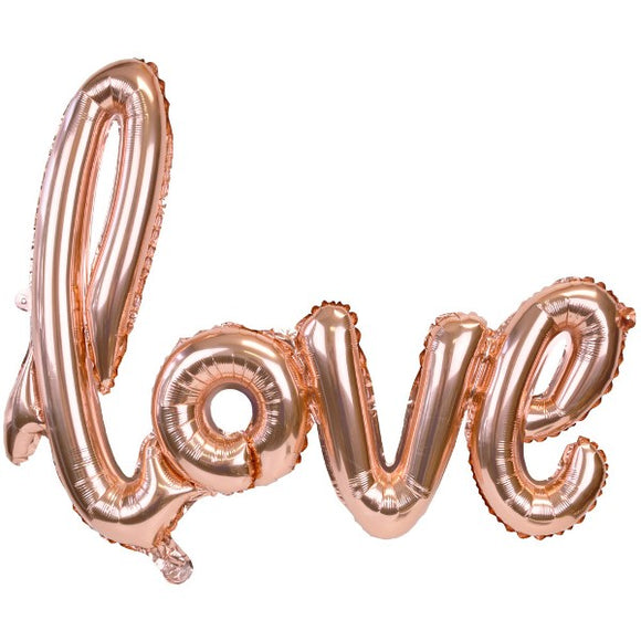 Rose Gold Script Love Balloon - Must Love Party