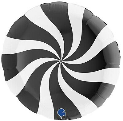 Candy Swirl Black Foil Balloon