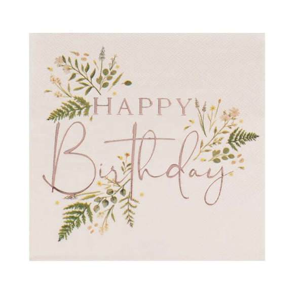 Blush Floral Happy Birthday Napkins - Must Love Party