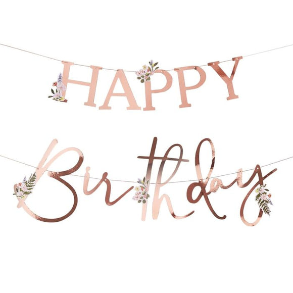 Rose Gold Floral Happy Birthday Bunting - Must Love Party