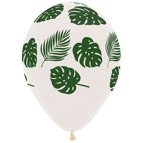 Tropical Leaves on Clear Balloon Bouquet (3)